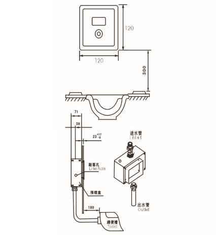 Wall Automatic Flush Valve Electronic Infrared Urinal Sensor